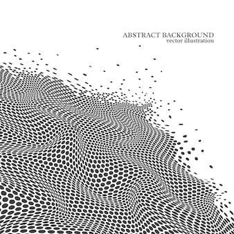 Abstract dotted wave background, 3d effect. white and black colors.