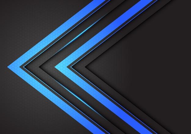 Abstract double blue light arrow direction on dark grey hexagon mesh background.
