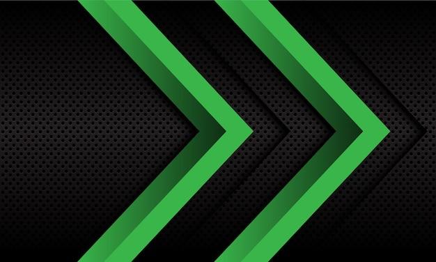ダークメタリックサークルメッシュデザインのモダンで未来的な抽象的な二重緑色の矢印の方向。