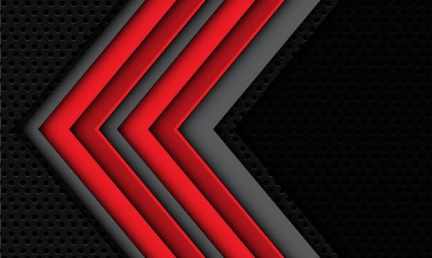 くまメッシュの背景に抽象的な二重赤灰色の矢印の影の方向