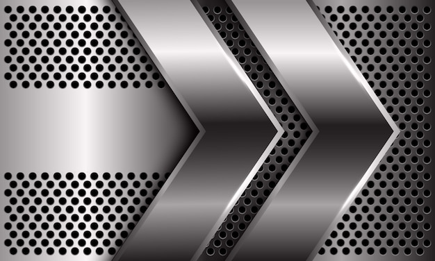 Абстрактное двойное серебряное направление стрелки на дизайне картины сетки круга современной роскошной футуристической предпосылки.