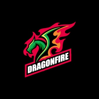 Abstract dragon fire illustration vector design template