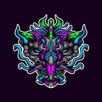 Abstract dragon head artwork
