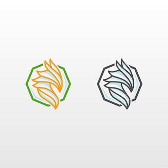 抽象的なドラゴン八角形のロゴデザイン
