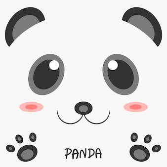 Abstract drawing animal panda picture 2d design.