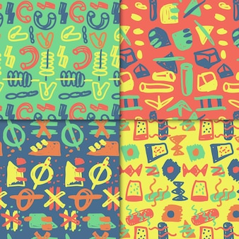 Abstract drawn pattern collection theme