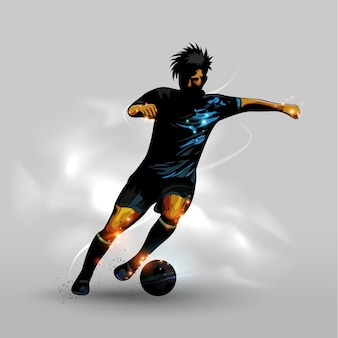 Abstract dribbling soccer ball
