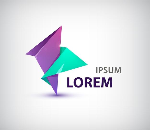 抽象的な二重折り紙のロゴ、分離されたアイコン。紫と緑の色。コーポレートアイデンティティ