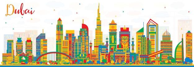 색상 건물과 추상 두바이 uae 도시 스카이 라인. 벡터 일러스트 레이 션. 현대 건축과 비즈니스 여행 및 관광 그림입니다. 랜드마크가 있는 두바이 풍경.