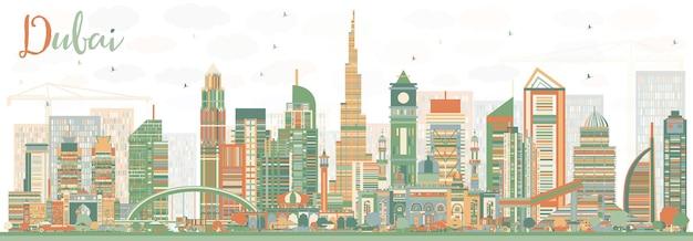 색상 건물이 있는 추상 두바이 uae 스카이라인. 벡터 일러스트 레이 션. 현대 건축과 비즈니스 여행 및 관광 그림입니다. 프레젠테이션 배너 현수막 및 웹사이트용 이미지.