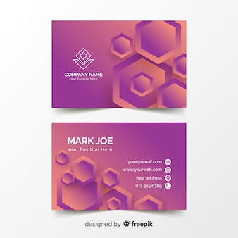 Abstract duotone gradient geometricshapes business card template