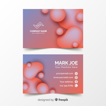 Abstract duotone gradient liquid shapes business card template