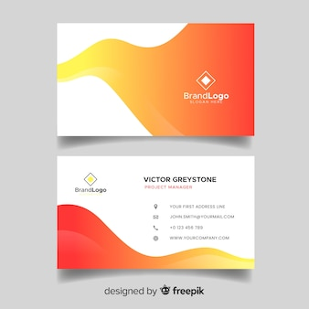 Abstract duotone gradient shapes business card template