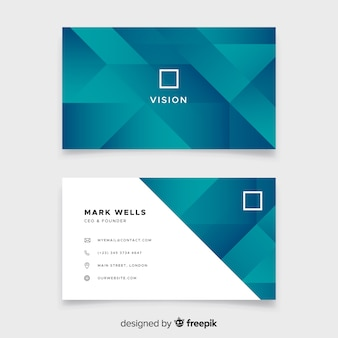 Abstract duotone gradient shapes business card