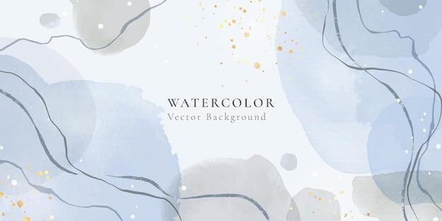 波線と金の染みと抽象的なほこりっぽい青とパステルグレーの液体水彩画の背景。パステルエレガントなミニマルモダンな水平ヘッダー。ベクトルイラスト、水彩壁紙