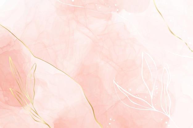 金の花の装飾要素を持つ抽象的なほこりっぽい赤面液体水彩背景。パステルピンクの大理石のアルコールインクの描画効果と金色の枝。エレガントな壁紙のベクトルイラスト。