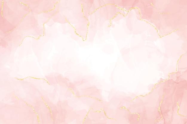 Абстрактный пыльный румянец жидкий акварельный фон с золотыми линиями