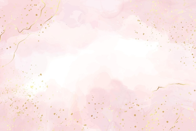 Abstract dusty blush liquid watercolor background with gold stains and lines