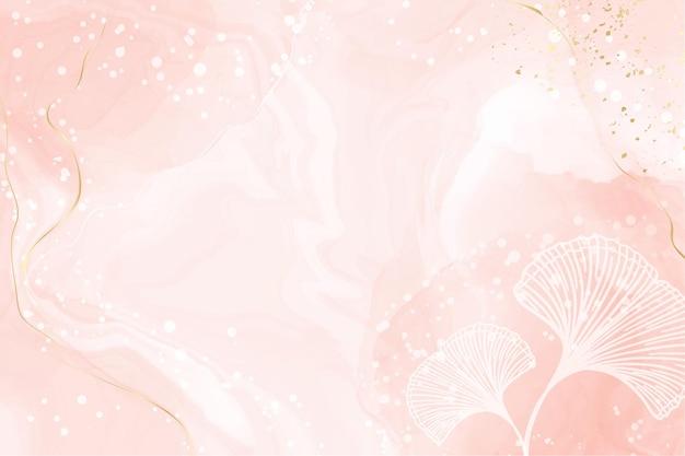 白い銀杏の葉と抽象的なほこりっぽい赤面液体水彩背景