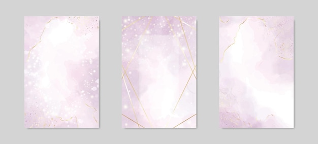 Abstract dusty lavender liquid watercolor background with golden lines frame and stains