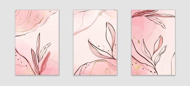 枝と金箔の要素を持つ抽象的なほこりっぽいピンクと赤面の液体の水彩画の背景。金色の染みが付いたパステルアルコールインクの描画効果。植物のエレガントな壁紙のベクトルイラスト。