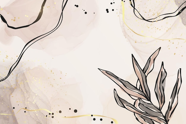 Abstract dusty pink and grey liquid watercolor background with branch and gold foil elements