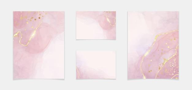抽象的なほこりっぽいバラの液体の水彩画の背景