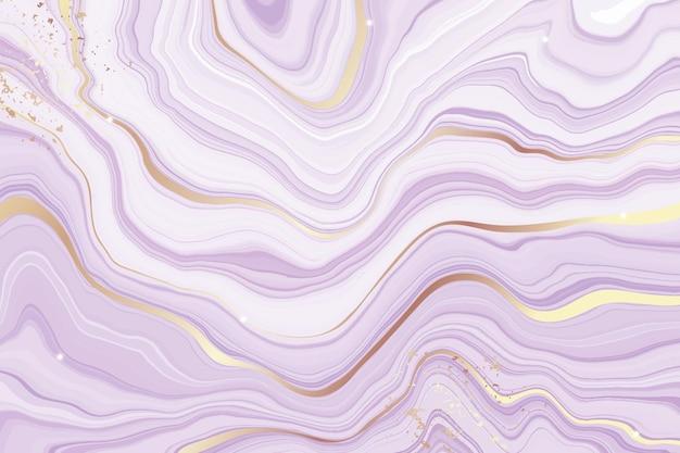 金色の線で抽象的なほこりっぽい紫色の液体大理石の水彩画の背景
