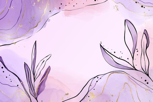 Абстрактный пыльный фиолетовый жидкий акварельный фон с элементами ветви и золотой фольги. эффект рисунка пастельной бледно-лиловой тушью с золотистыми пятнами. векторная иллюстрация ботанических элегантных обоев