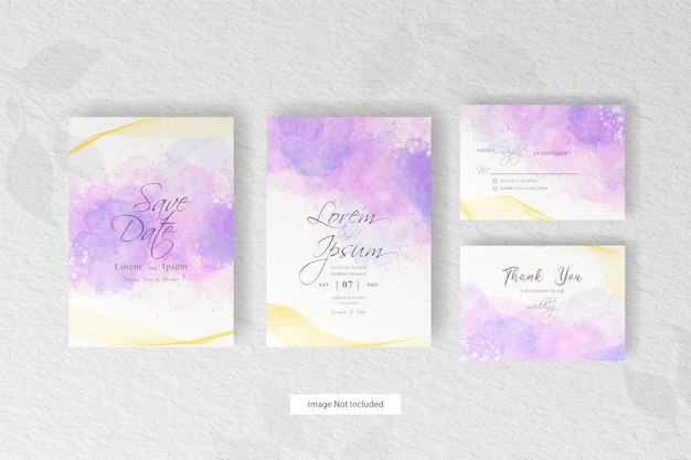Abstract  dynamic fluid wedding invitation card template with   hand painted liquid watercolor decoration