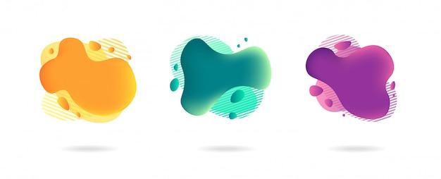 현대적인 스타일에 추상 동적 그라데이션 그래픽 요소입니다. 흐르는 액체 모양의 배너, 아메바 형태.
