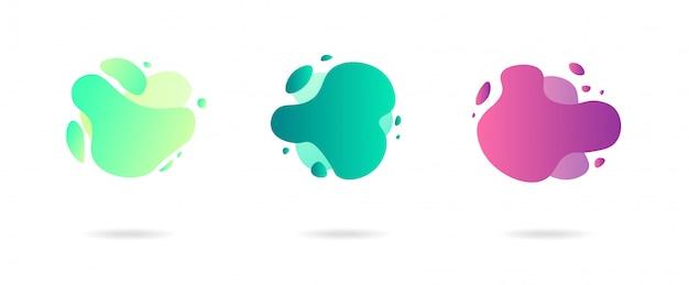 현대적인 스타일의 추상 동적 그라데이션 그래픽 요소입니다. 흐르는 액체 모양의 배너, 아메바 형태.