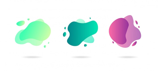 Abstract dynamic gradient graphic elements in modern style. banners with flowing liquid shapes, amoeba forms.