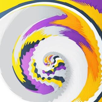 抽象的なダイナミックなイラスト、カラフルな回転渦巻きの背景