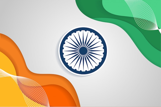 Abstract dynamic india flag theme background