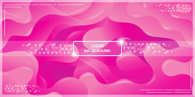 Abstract dynamic liquid gradient and lines with magenta banner background
