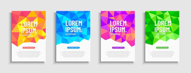 Abstract dynamic modern low polygon mobile sale banner set.