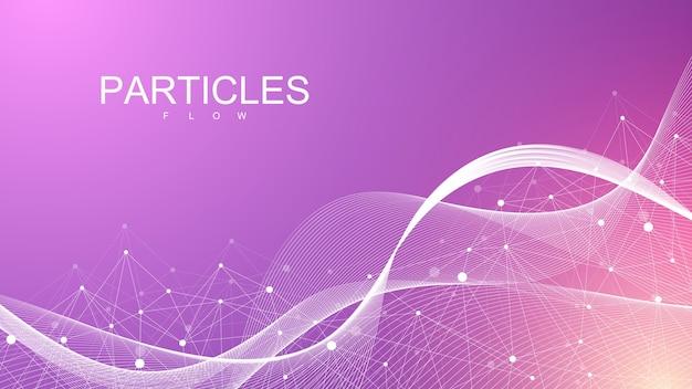カラフルな粒子で抽象的なダイナミックなモーションラインとドットの背景。