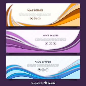 Abstract dynamic shape banner set