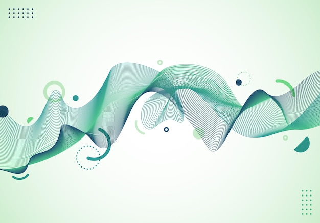 Abstract dynamic wave wavy green lines with geometric elements on white background. vector illustration