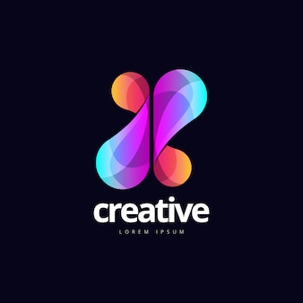 Abstract dynamic x logo shape