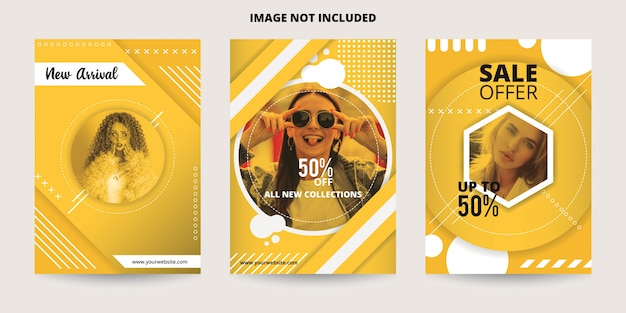 Abstract dynamic yellow sale banner template