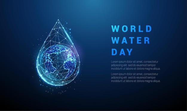 一滴の水に地球儀を抽象化します。世界水の日。低ポリスタイルのデザイン。幾何学的な背景。ワイヤーフレームライト接続構造。