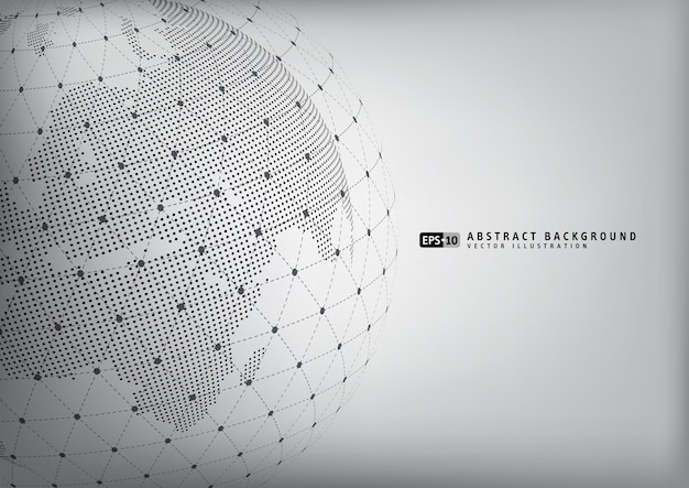 Abstract earth globe with wireframe sphare