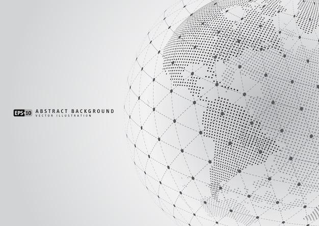 와이어 프레임 sphare와 추상 지구 지구