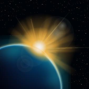 抽象的な地球日の出光の効果