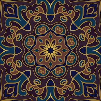 抽象的な東のパターン。カーペット、タイル、ショールのカラフルなテンプレート。