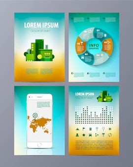 Abstract eco brochure flyer design template in a4 size with infographics