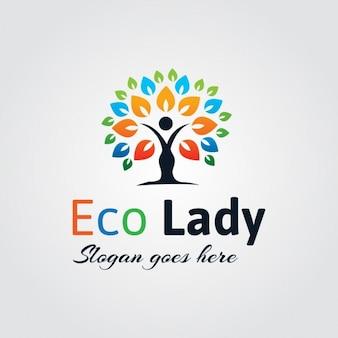 Abstract eco lady logo
