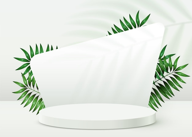 Abstract eco scene background cylinder podium with leaves on white background product presentation m...